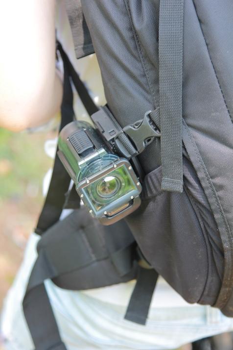 Camera sur le sac photo.