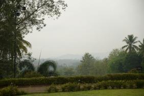 Vue lorsque l'on est dans le temple de Borobudur