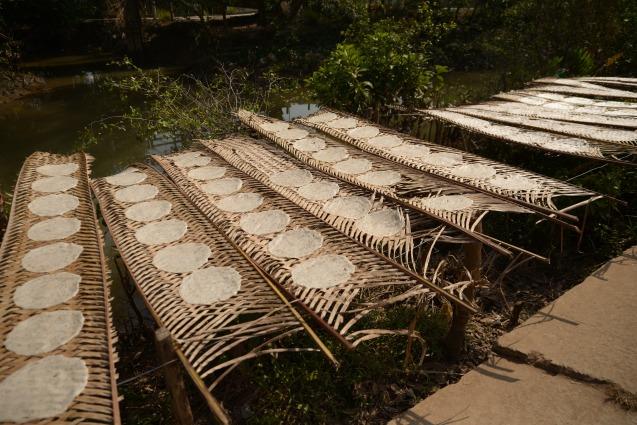 Galette de riz sechant au soleil